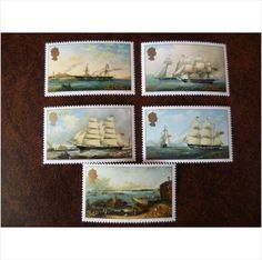Jersey 1985 Artists Philip John Ouless set mint postage stamps GB SG352-9  paintings of sailing ships