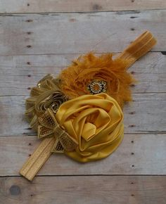 Gold and Yellow Silk and Shabby Flower Headband