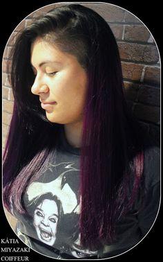 Katia Miyazaki Coiffeur - Salão de Beleza em Floripa: sidecut feminino - ombre violeta - corte repicado ...