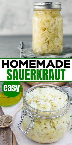 We show you how to make your own sauerkraut at home. This easy DIY homemade recipe has just 2 ingredients. You won't believe how easy and quick this homemade healthy fermented food sauerkraut recipe is. So simple and healthy you will never want to buy expensive store bought again. Learn all the tips to getting your sauerkraut in a jar just right. Homemade Sauerkraut, Sauerkraut Recipes, Low Carb Recipes, Real Food Recipes, Vegetarian Recipes, Fermentation Recipes, Canning Recipes, Healthy Appetizers, Healthy Snacks