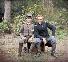 Custer of the Cavalry is seen with Lt. Washington, a prisoner and former classmate. Custer of the Cavalry is seen with Lt. Washington, a prisoner and former classmate. George Armstrong, Colorized Photos, Colorized History, America Civil War, War Photography, Civil War Photos, Le Far West, Before Us, Military History
