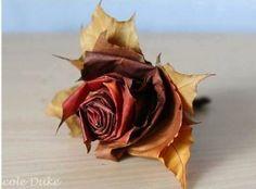 DIY Fall Leaf Rose Decoration Tutorial