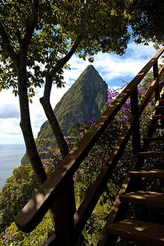 Wooden Stairway and Petit Piton in St. Lucia Island