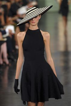 A vintage look with Ralph Lauren Little Black Dress. The big black and  white striped floppy hat makes it more enchanting and the black gloves  perfectly ... fc4a2f82a08