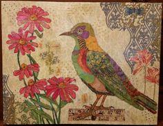 Bird paper napkin mosaic collage