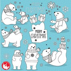 80% OFF SALE  Polar bear digital stamp by Prettygrafikdesign