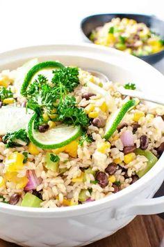 Southwest Vegetarian Brown Rice Salad - Instant Pot Brown Rice Recipe Rice Side Dishes, Vegetarian Side Dishes, Southwest Salad Dressings, Rice On The Stove, Brown Rice Salad, Pots, Brown Rice Recipes, Grilling Sides, Chicken Steak