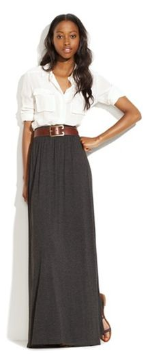 Looking for new and inspired ways for how to wear my maxi skirt - love this! http://www.fabsugar.com/Skirts-Fall-2011-19248061?page=0,0,0#6