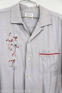 "VTG 1950s Rayon Shirt Flamingos Motif Mens XL 52"" Chest Palm Springs Rockabilly"