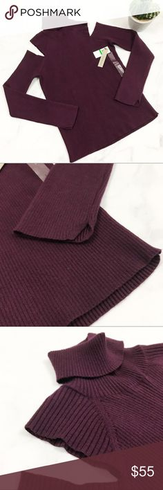 Calvin Klein Cold Shoulder Turtle Neck Sweater Brand new with tags! (010-0166)   PRODUCT DETAILS: •Size: Large •Colors: Spiced Berry / Purple  •Made in Jordan •Measurements: Chest-17inch Length-26inch (from Shoulder Down) •Sliced Cold Shoulder Sleeves •Turtle Neck •Ribbed Material •Crazy Soft • 48% viscose, 32% polyester, 20% nylon •Machine Wash or Dry Clean •High Quality!   Tags: Burgundy Top winter fall cut drop falling Mock Cowl CK Jeans work career professional business church evening…