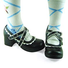 Handmade Classic Black PU Leather White Trim 4.5cm High Heel Maid Cosplay Lolita Shoes - USD $ 49.99