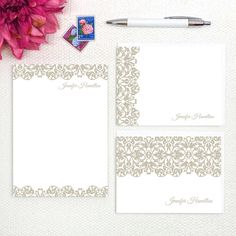 Complete personalized stationery set - Lacy Edge