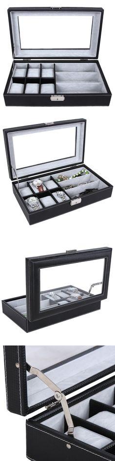 Watch 168164: 6 Slot Watch Box Jewelry Case Glasses Display Storage Organizer, Glass Top Black -> BUY IT NOW ONLY: $36.99 on eBay!