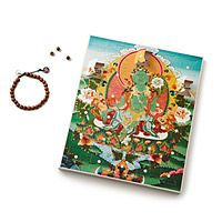 """KARMA CALENDAR  The journey to a better you, and to better karma, happens just one step at a time. The Karma Calendar features a 27-day program that focuses on one good deed or heartfelt task per day, and its completion is marked by adding one wooden bead onto a cotton linen cord. At the end of the calendar, add the semi-precious stone charm and you'll have a wrist mala—""""garland"""" in Sanskrit—to mark your achievements and to act as a daily reminder of your strength, compassion, and triumph."""