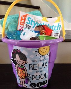 End of the year teacher gift--Relax by the pool kit