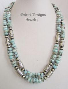 Schaef Designs Larimar & sterling silver tube & bench bead southwestern necklace set | Southwestern Basics Collection | New Mexico