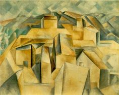 "Houses on the Hill (1909) by Pablo Picasso. Painted while he and Fernande were on holiday in Horta, Catalonia, in summer 1909. Bought by Gertrude and Leo Stein, who regarded it as ""really the beginning of cubism"", somewhat overlooking Braque..."