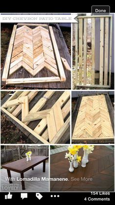 DIY Chevron Patio Table, easy dining table, full do it yourself instructions. DIY Chevron Patio Table, easy dining table, full do it yourself instructions. Mesa Chevron, Chevron Table, Chevron Kitchen, Furniture Projects, Home Projects, Furniture Design, System Furniture, Modern Furniture, Building Furniture
