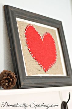 Burlap and Baker's Twine Heart @ Domestically-Speaking.com