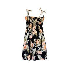 Waimea Black Short Hawaiian Smocked Sundress   #sundress #hawaiiandress #sexyhawaiiandresses #hawaiianweddingdress #hawaiiandresses #maxidress #floraldress