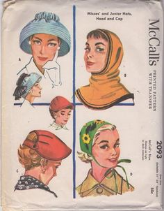 McCall's 2093 Vintage 50's Sewing Pattern Such WHIMSY! GORGEOUS Rockabilly Era Bell Shaped Audrey Hat, Pull On Hood, Back Strap Visor and Tie On Appliqued Cap #MOMSPatterns