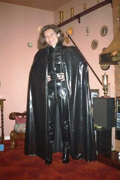 Ready for a Fetish Walk in black Vinyl Sexy Latex, Latex Wear, Pvc Catsuit, Rubber Catsuit, Capes, Black Raincoat, Rubber Dress, Rubber Raincoats, Latex Lady