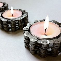 Bike chain candle holders. Totally makes girly stuff  [ Wainscotingamerica.com ] #Mancave #wainscoting #design