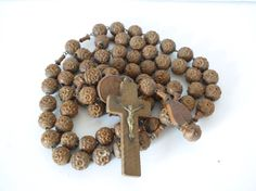 French religious wooden beaded antique rosary necklace, large monks rosary, heart medal, wood cross crucifix corpus christi Jesus, Lourdes
