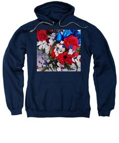 Patriotic Style And Colors Sweatshirt featuring the photograph Independence Day Flowers by Tiana Art