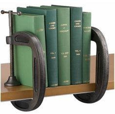 C-clamp bookend. How resourceful.