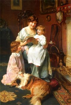 Arthur John Elsley was famous for his idyllic scenes of family life. He often portrayed children and their pets, frequently large dogs like this beautiful Collie.