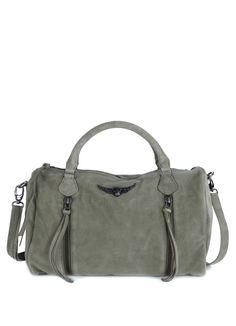 Buy Zipped handbag Zadig et Voltaire with removable shoulder strap, two outside zipped gussets, metallic wings in front of the page, leather,bag for woman sunny daim kaki-Zadig&Voltaire Leather Purses, Leather Handbags, Women's Handbags, Metallic Handbags, Hermes Bags, Shoulder Handbags, Shoulder Bags, Wallets For Women, Leather Shoulder Bag