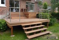 Picture result for terrasse sur pilotis - Pinphouse - Apartment Decorating Wooden Steps Outdoor, Patio Design, Garden Design, Mobile Home Deck, Floating Deck, Backyard Studio, London House, Backyard Makeover, House Extensions