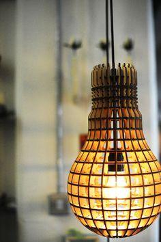 Wooden Bulb Pendant Light. UK designer. Laser cut lamp. Industrial style - Fat Shack Vintage - Fat Shack Vintage