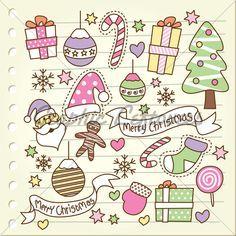 Set of christmas doodle Premium Vector Doodle 2, Doodle Sketch, Tangle Doodle, Doodle Drawings, Cute Drawings, Christmas Doodles, Christmas Drawing, Noel Christmas, Christmas Crafts