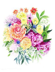 Summersend Bouquet – Watercolor Print   April Preston Design