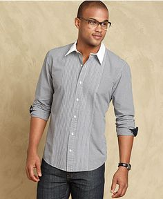 Tommy Hilfiger Shirt, Alexis Tuxedo Long Sleeve Slim Fit Shirt - Mens Casual Shirts - Macy's - LOVE this with dark jeans