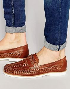 Dune Woven Loafers In Brown Leather Klick to see the Price Loafers Outfit, Loafer Shoes, Men's Shoes, Dress Shoes, Mens Woven Loafers, Leather Loafers, Loafers Men, Stylish Watches, Well Dressed Men
