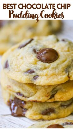 Vanilla Pudding Cookies, Basic Butter Cookies Recipe, Chocolate Chip Pudding Cookies, Perfect Chocolate Chip Cookies, Yummy Cookies, Quick Easy Desserts, Delicious Desserts, Cookie Recipes, Cookie Ideas