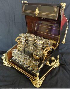 """Antiquités - Cave à liqueurs dite """"piano"""" en ébène et bronze Boulle d'époque Napoléon III"""