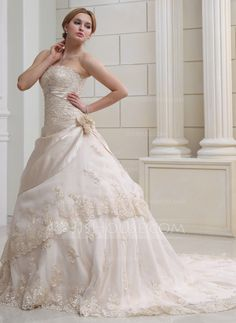 Ball-Gown Strapless Chapel Train Satin Organza Wedding Dress With Ruffle Lace Beading Crystal Brooch Flower(s) (002000356) - JJsHouse