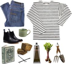 Armor Lux white stripes t shirt, $60 / Nobody Denim skinny fit jeans, $340 / Julien David , $505 / Goody hair accessory / The Thoughtful Gardener Fork & Trowel Set, $35 / Pier One Reactive Cafe Au Lait Mug - Green / American Gods/Anansi Boys (Barnes Noble Leatherbound Classics)