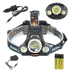 GR Business RJ-3000 6000LM 3x XM-L T6 LED Headlamp Flashlight Headlight Head Torch Lamp with 2 18650 Batteries and Car Charger -- Awesome products selected by Anna Churchill