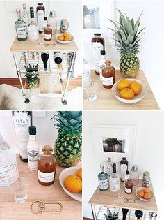 one cart + three ways: bar cart / sfgirlbybay #blog #home #decor #liquor