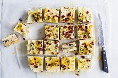 white chocolate & cranberry slice