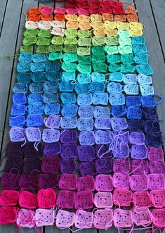 rainbow of granny squares check out: http://creativelycraftyjenn.blogspot.com/