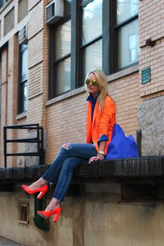 tangerine button down shirt with jeans