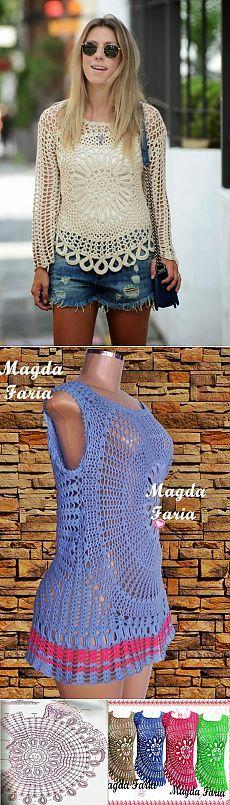 Идеи для вязания крючком - туники, платье со схемами | Варварушка-Рукодельница