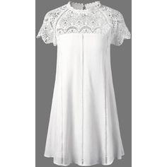 Lace Panel Openwork Insert Flapper Dress ($23) ❤ liked on Polyvore featuring dresses, lace insert dress, white flapper dress, gatsby dress, flapper inspired dress and lace panel dress