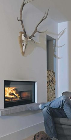 No antlers please but great bottom shelf Stove Fireplace, Fireplace Wall, Fireplace Surrounds, Fireplace Design, Fireplace Mantels, Fireplaces, Modern Fireplace, Linear Fireplace, Wood Burner